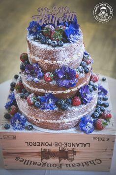 Cake by http://www.frenchmade.co.uk #rustic #nakedcake #naked #cake #wedding #weddingcake  #blue  #woodland #summerberries #strawberries #blueberries