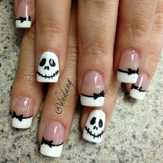 black white skellington french halloween nails latest nail art designs gallerynail designs for short nails easy kiss nail stickers nail art stickers how to apply best nail polish strips 2019 Fancy Nails, Love Nails, Pretty Nails, Halloween Nail Designs, Halloween Nail Art, Halloween Skull, Easy Halloween, Halloween Jack, Women Halloween