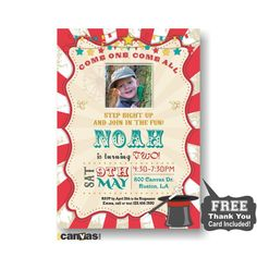 Circus Photo Birthday Invitation. Boy Girls Carnival Party Invite. Red Circus Tent B'day. Carnival Circus Vintage. Come One Come All 215 by 800Canvas on Etsy