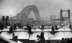 Three bridges taken from the slip road, Runcorn Old Town Old Pictures, Old Photos, Black N White Images, Black White, Three Bridges, Liverpool Home, Sydney Harbour Bridge, The Good Old Days, Chester