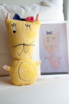This company takes a childs drawing and makes it into a stuffed animal or pillow!!! Im so going to do this