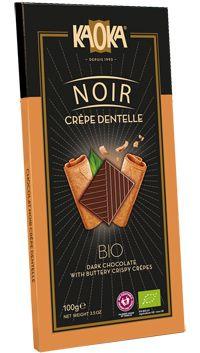 Chocolate negro con crepes. 100 gr. Certificado biológico. Contenido cacao: 55%. Chocolate negro con trocitos de crepes finas y crujientes