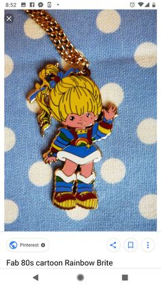 cartoons costumes Fab cartoon Rainbow Brite pendant on gold coloured chain. This is a vintage charm in excellent condition which I have added a new chain 80s Kids, Kids Tv, Cartoon Costumes, Love Rainbow, Rainbow Magic, Rainbow Brite, Oldies But Goodies, Candyland, Toys For Girls