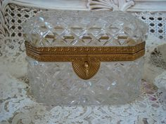 Antique French Diamond Cut Crystal Casket Box or Jewelry Box Crystal Box, Glass Boxes, Jewel Box, Casket, Vintage Love, Trinket Boxes, French Antiques, Diamond Cuts, Antique Jewelry