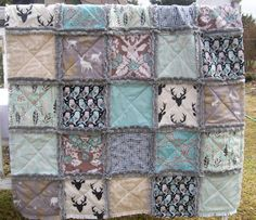 ❤️❤️❤️❤️Crib Rag Quilt, Aqua Gray Deer Elk Owls Antlers Made To Order Rustic Woodland Brown Crib Bedding Baby Boy Girl Minky