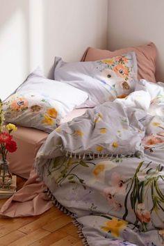 Tribal Stripes Brushed Cotton Flannelette Duvet Cover Floral Flannel Bedding Set