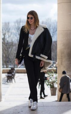 Don't save your disco looks for after dark - make like Veronika Heilbrunner and test them out with sneakers and shearling for day