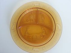 Tiara Indiana Amber Glass Mother Goose Nursery Rhyme Childs Divided Plate Cup EUC