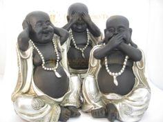 Horen zien zwijgen boeddha zilverkleurig XL