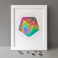 1/63 new Stereohype Button Badge Motif Prints #stbbmp Design: FL@33💥🍭🐿 https://www.stereohype.com/330-button-badge-motif-print-series #pentagon #geometric #illustration #home #homedecor #hahnemuehle #giclee #certified #seal #button #badge #pin #motif #artwork #affordableart #beautiful #inspirational #pentagonal #bipyramid