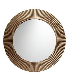 Large, round mirror with a fluted metal frame and a hook at the back for hanging. Diameter of mirror cm, diameter Above Fireplace Decor, Mirror Over Fireplace, Fireplace Art, Round Wall Mirror, Round Mirrors, Pot Storage, H & M Home, Gold Wallpaper, Small Mirrors