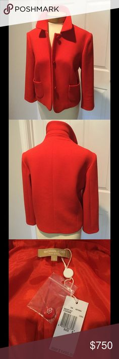 Michael Kors Collection RED Jacket Blazer 8 NWT Stunning Closet Basic that you will throw on with everything! Bracelet sleeves perfect for long gloves in cooler weather. Wool with some stretch. Brand new $1495. Made in Italy Michael Kors Jackets & Coats Blazers