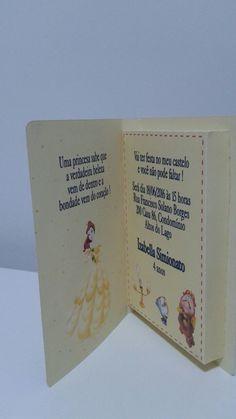 Lindo convite formato livro no tema A Bela e a Fera. Confeccionado em papel fotográfico, acompanhado tag com nome do convidado e já envio selado. Consulte outros temas