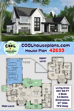 Beautiful two-story farmhouse plan with three car garage at the rear. An open floor plan inside with the master suite, dining room, office, large kitchen with center island and seating. On the second floor three bedrooms, two bedrooms, loft and a computer nook. All our home building plans can be modified, just give us a call at 800-482-0464 #farmhouse #houseplan #housefloorplan #contryliving #homedesign #homeideas Three Bedroom House Plan, Two Story House Plans, New House Plans, Dream House Plans, House Floor Plans, Modern Farmhouse Plans, Farmhouse Style, Building Plans, Building A House