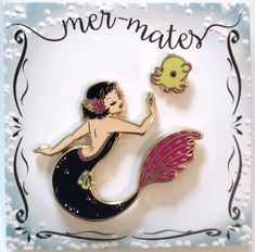 A collaboration with OH'PLEASIOSAUR featuring a mermaid with her best sea animal friend. The first set in series is this beautiful retro mermaid with her cute dumbo octopus. Hard enamel pin set, Gold polish metal. Pin Up inspired black mermaid pin, 2 Inch high, three pin posts for extra security, pink rubber backing. Her little yellow friend is a cute dumbo octopus, 0,5 Inch big, 1 pin post, pink rubber backing. Please choose from the following quality grades: Premium Quality Best for pin...