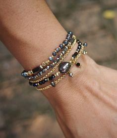 Black mix five strands bracelet with chain, Beaded bracelet, Bridal gift by G2Fdesign on Etsy
