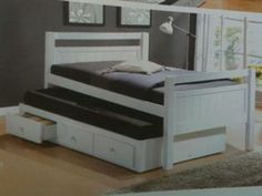 Single bed with single trundle bed with storage drawers white