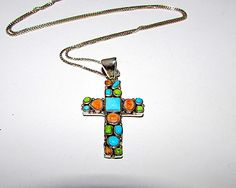 Navajo Sterling Silver Turquoise Spiny Oyster Cross Pendant Necklace by Arnold Maloney Singed Native American