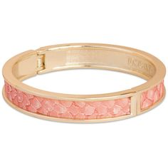 Tokyo Jane Gete Leather Trim Bangle - Rose & Gold ($48) ❤ liked on Polyvore featuring jewelry, bracelets, accessories, bangles, pulseras, leopard bangle, stackable bangles, rose gold bangle bracelet, rose gold bangle and hinged bracelet
