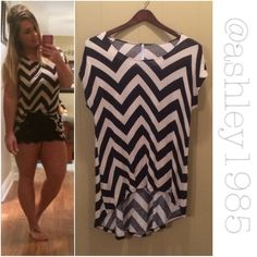 Black white chevron high low top Super soft and stretchy black white chevron high low short sleeve top. Some light piling from wash/wear. Size Medium but will fit Large as well. Azules Tops