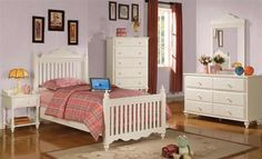 Traditional White Wood Poster Kids Bedrooms Set