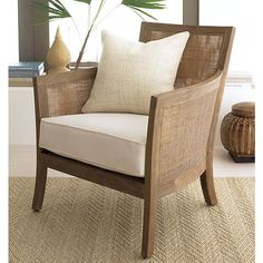 Blake Grey Wash Lounge Chair with Cushion in Easter | Crate and Barrel