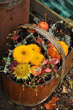 Fall's bounty. Copper basket