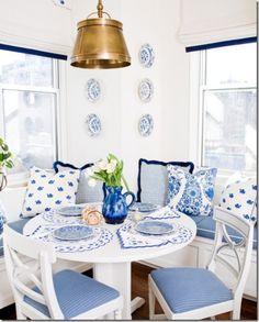 blue and white breakfast nook by designer Sara Gilbane.