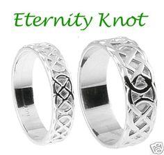 "Celtic ""Eternity Knot"" Silver Irish Wedding Ring Set sz"