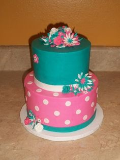Pink and Turquiose Flower Cake By cakesbykayla on CakeCentral.com