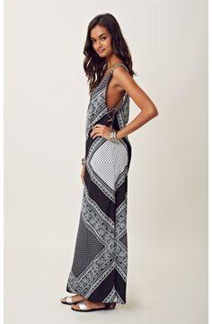 Blu Moon Deep V Neck Side Criss Cross Maxi Dress