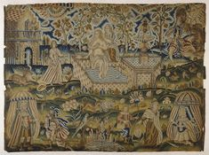 Embroidered picture: David and Bathsheba, 1661 or 1681