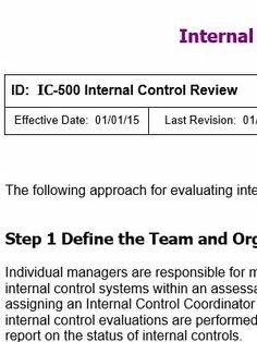 Develop an Internal Control Procedures Manual with Copedia Internal Control Checklists, Questionaires and Spreadsheet Evaluation Tools. Internal Control, Internal Audit, Report Template, Control System, Sample Resume, Accounting, No Response, Management, Templates