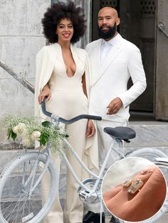 Solange Knowles & Alan Ferguson...Naturally, the star who wore two caped jumpsuits on her wedding day wasn't going to have a plain old wedding band. And her open-design gold band with two bezel-set stones opposite one another is unconventionally gorgeous, just like Solange's style.