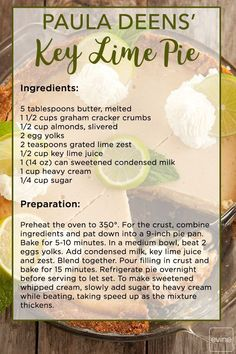 Need something to help celebrate today? This Key Lime Pie Recipe f… Happy Pi Day! Need something to help celebrate today? This Key Lime Pie Recipe from Paula Deen is sure to do the trick! Yummy Recipes, Lime Recipes, Delicious Desserts, Cooking Recipes, Custard Desserts, Make Ahead Desserts, Easy Pie Recipes, Custard Recipes, Bread Recipes
