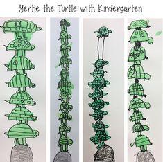 "Kindergarten ""Mack Stack"" illustrations inspired by Dr. Seuss's Yertle the Turtle"