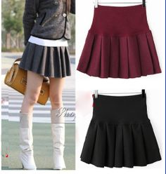 bd15d02c0c4 New 2014 women ladies solid color high waist skater mini woolen pleated  short bust skirts free shipping black red grey 514 US  18.00