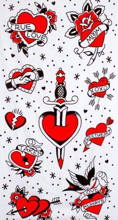 Tattooed Hearts Beach Towel