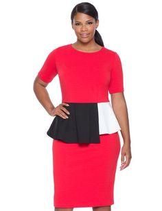 Colorblock Peplum Dress from eloquii.com