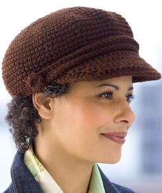 Visor Cap Crochet Pattern | Red Heart --- nice tight crochet stitch for winter