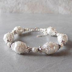 White Pearl Bracelet, Brides Bracelet, Pearl Wedding Jewelry, Handmade Bridal Accessories