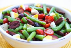 Salad- green beans, tomatoes, olives, & egg