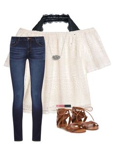 """""""Jesus saves"""" by preppy-dreamer ❤ liked on Polyvore featuring Free People, H&M, Kendra Scott and DL1961 Premium Denim"""