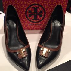 Tory Burch Heels Lightly worn great condition. Comes with box. Style 31138619  black/almond  Erica 85mm pump equestrian calf Tory Burch Shoes