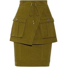 Balmain Layered brushed cotton-blend twill skirt (9 055 UAH) ❤ liked on Polyvore featuring skirts, balmain, bottoms, saias, army green, zipper skirt, double layer skirt, layered skirt, army green skirt and brown layered skirt