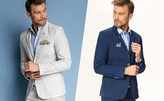 Stylizacje na letnie przyjęcia - męskie propozycje Suit Jacket, Breast, Suits, Jackets, Fashion, Down Jackets, Moda, Fashion Styles, Suit
