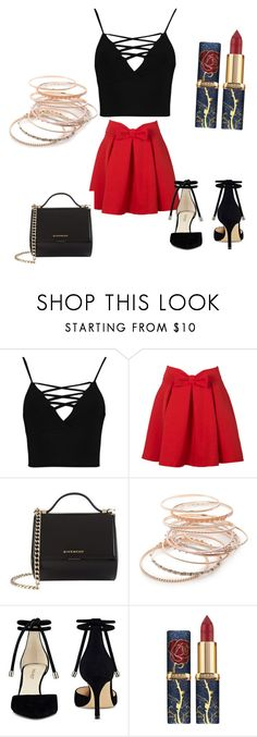 """""""Untitled #11"""" by razaibrahimovic ❤ liked on Polyvore featuring Boohoo, WithChic, Givenchy, Red Camel and Nine West"""