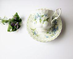 July Forget Me Not Vintage Tea Cup  Royal Albert Bone by jarmfarm