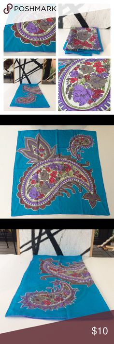 """Vintage 50's Turquoise Lavender Paisley Silk Scarf No brand or tags but i know my silks & this is 100%. Came in a big load of 1950s items so this is true vintage and in excellent condition.        No snags, stains, odors, tears, etc.                     Measures 28""""x28"""" Thanks so much! Vintage Accessories Scarves & Wraps"""