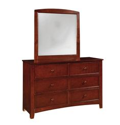 Omnus Transitional Cherry Solid Wood Dresser And Mirror